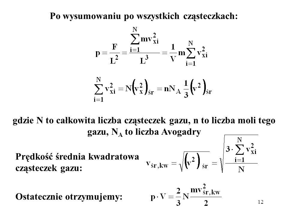 12 Po wysumowaniu po wszystkich cząsteczkach: gdzie N to całkowita liczba cząsteczek gazu, n to liczba moli tego gazu, N A to liczba Avogadry Ostatecz