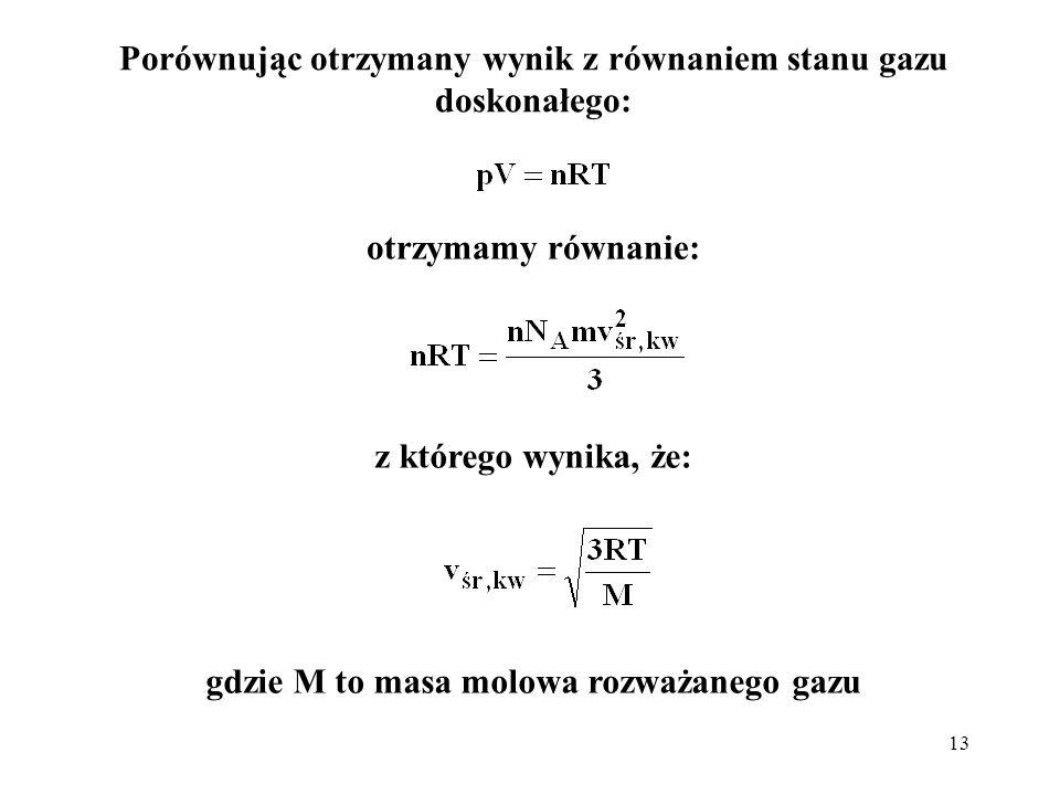 13 Porównując otrzymany wynik z równaniem stanu gazu doskonałego: gdzie M to masa molowa rozważanego gazu otrzymamy równanie: z którego wynika, że: