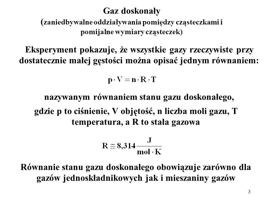 14 Przykładowe prędkości cząsteczek różnych gazów w temperaturze pokojowej (300 K) gazmasa molowa[10 -3 kg/mol]v śr,kw [m/s] wodór (H 2 )2,021920 hel (He)4,01370 para wodna (H 2 O)18,0645 azot (N 2 )28,0517 tlen (O 2 )32,0483 dwutlenek węgla (CO 2 )44,0412 dwutlenek siarki (SO 2 )64,1342