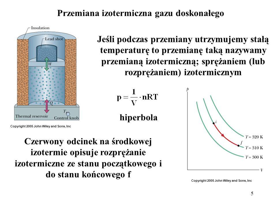 5 Przemiana izotermiczna gazu doskonałego Czerwony odcinek na środkowej izotermie opisuje rozprężanie izotermiczne ze stanu początkowego i do stanu ko