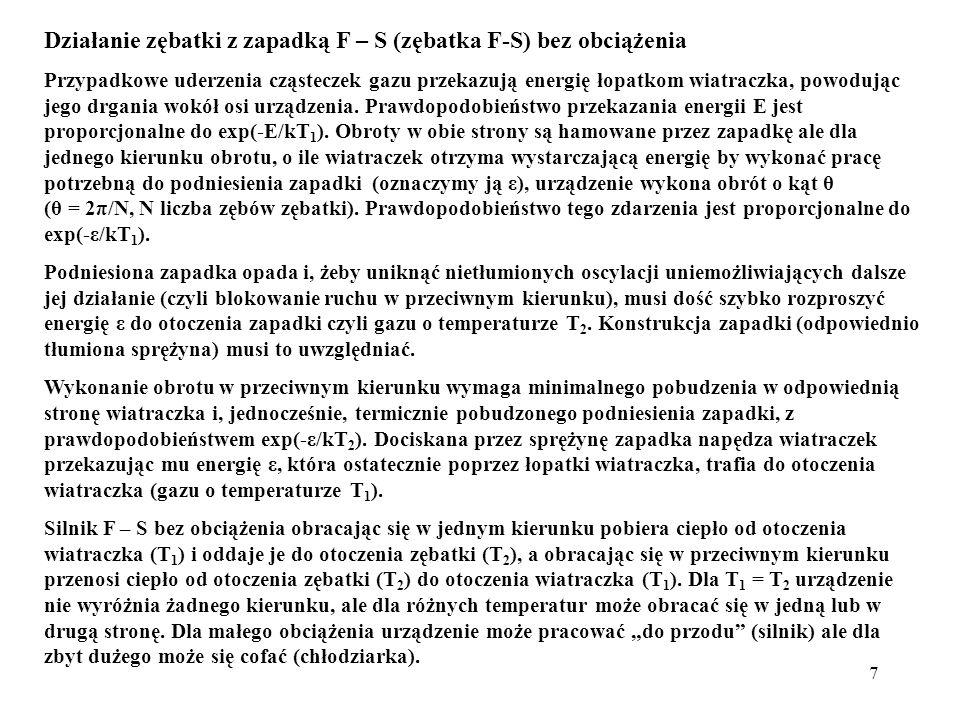 7 Działanie zębatki z zapadką F – S (zębatka F-S) bez obciążenia Przypadkowe uderzenia cząsteczek gazu przekazują energię łopatkom wiatraczka, powoduj