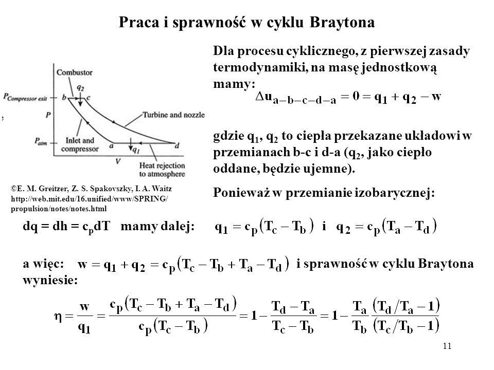 11 Praca i sprawność w cyklu Braytona Dla procesu cyklicznego, z pierwszej zasady termodynamiki, na masę jednostkową mamy: gdzie q 1, q 2 to ciepła pr