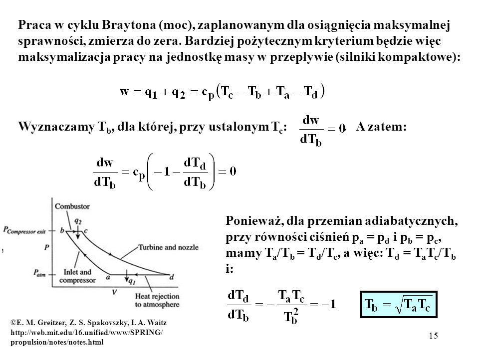 15 Praca w cyklu Braytona (moc), zaplanowanym dla osiągnięcia maksymalnej sprawności, zmierza do zera. Bardziej pożytecznym kryterium będzie więc maks