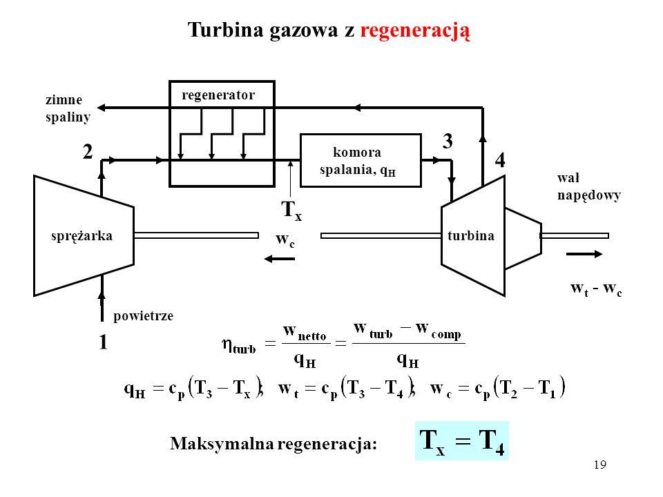 19 Turbina gazowa z regeneracją sprężarkaturbina komora spalania, q H powietrze wcwc w t - w c wał napędowy regenerator zimne spaliny TxTx 1 2 3 4 Mak