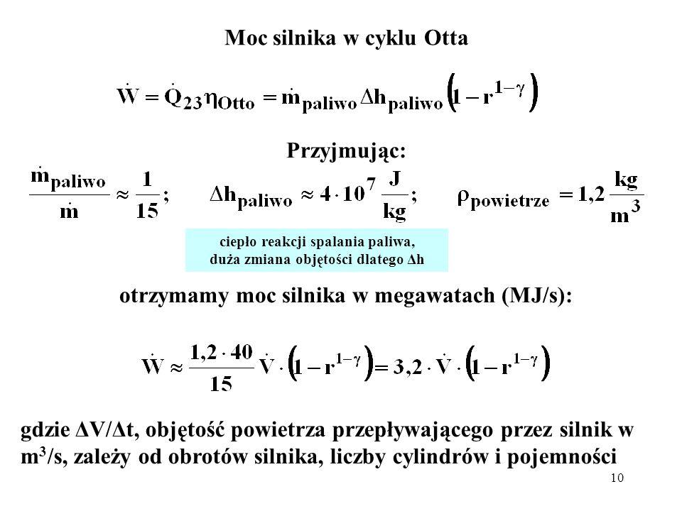 10 Moc silnika w cyklu Otta Przyjmując: otrzymamy moc silnika w megawatach (MJ/s): gdzie ΔV/Δt, objętość powietrza przepływającego przez silnik w m 3
