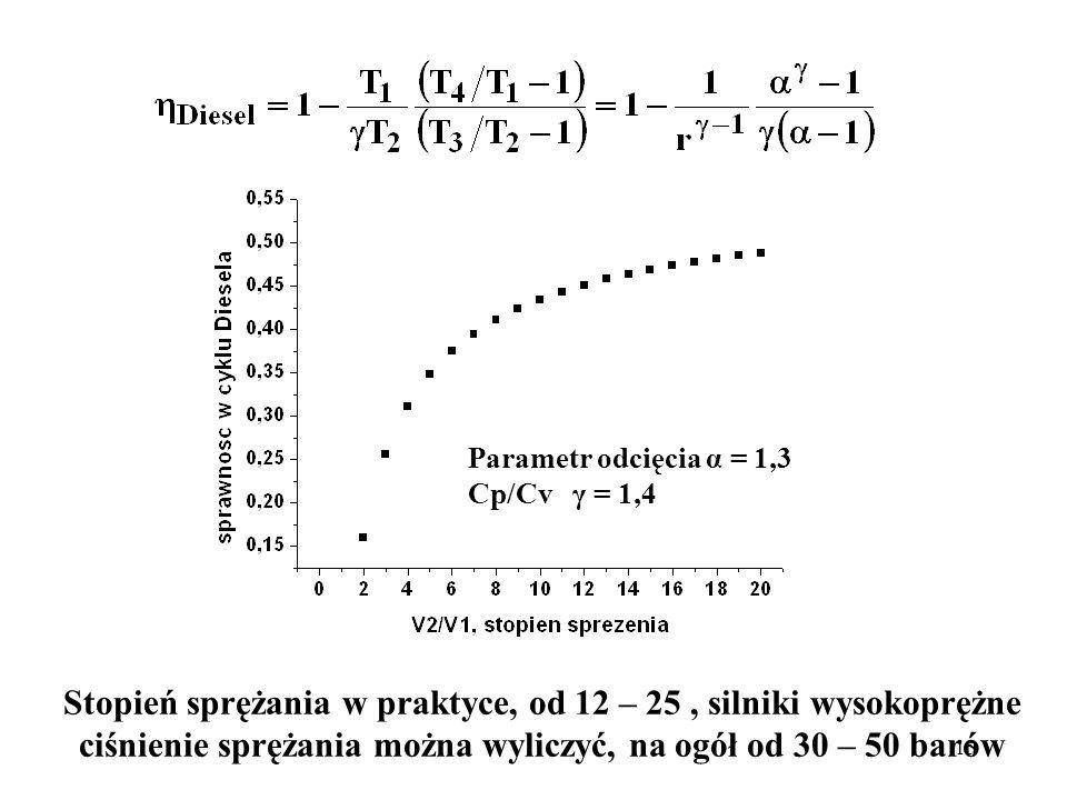 15 Parametr odcięcia α = 1,3 Cp/Cv γ = 1,4 Stopień sprężania w praktyce, od 12 – 25, silniki wysokoprężne ciśnienie sprężania można wyliczyć, na ogół