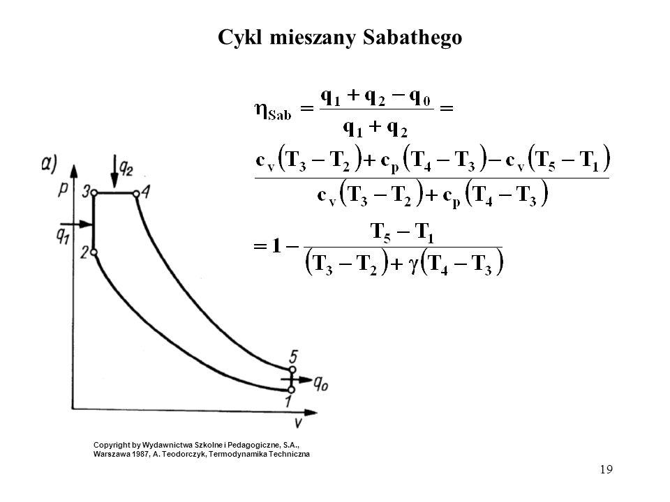 19 Cykl mieszany Sabathego Copyright by Wydawnictwa Szkolne i Pedagogiczne, S.A., Warszawa 1987, A. Teodorczyk, Termodynamika Techniczna
