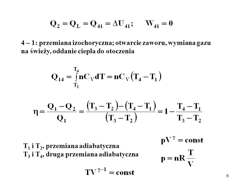 17 Porównanie cyklu Otta i Diesla Cykl Otta charakteryzuje się wyższą sprawnością przy tym samym stopniu sprężania r = (V 2 / V 1 ); diagram p – V (obcięty czubek) Cykl Diesla; możliwe wyższe stopnie sprężania (brak samozapłonu); w konsekwencji wyższa sprawność dla praktycznie osiągalnych sprężeń; minus – konieczność wtrysku paliwa pod wysokim ciśnieniem (sprężarka)