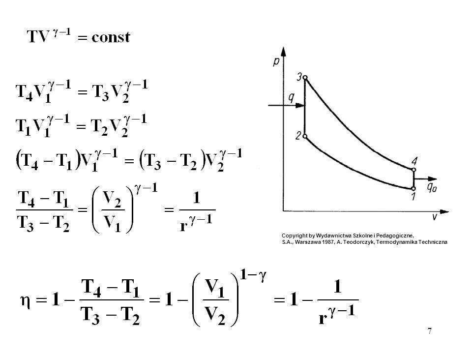 8 Sprawność silnika w cyklu Otta γ = 1,4