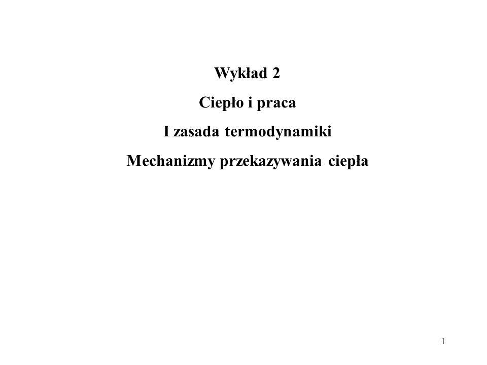 1 Wykład 2 Ciepło i praca I zasada termodynamiki Mechanizmy przekazywania ciepła