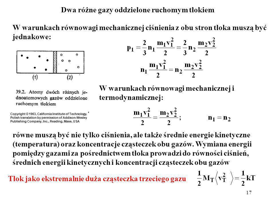 17 W warunkach równowagi mechanicznej ciśnienia z obu stron tłoka muszą być jednakowe: W warunkach równowagi mechanicznej i termodynamicznej: równe mu