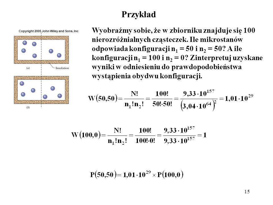 15 Przykład Wyobraźmy sobie, że w zbiorniku znajduje się 100 nierozróżnialnych cząsteczek. Ile mikrostanów odpowiada konfiguracji n 1 = 50 i n 2 = 50?