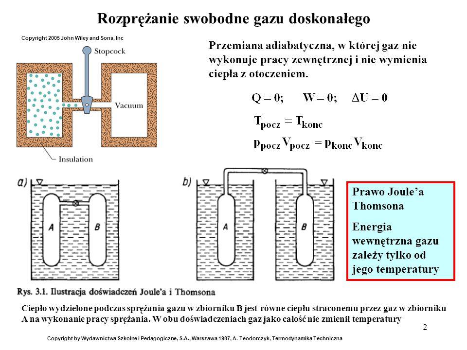 2 Rozprężanie swobodne gazu doskonałego Przemiana adiabatyczna, w której gaz nie wykonuje pracy zewnętrznej i nie wymienia ciepła z otoczeniem. Copyri