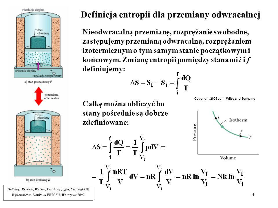 4 Definicja entropii dla przemiany odwracalnej Nieodwracalną przemianę, rozprężanie swobodne, zastępujemy przemianą odwracalną, rozprężaniem izotermic