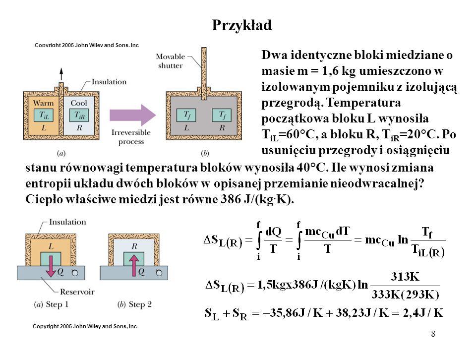 8 Przykład Dwa identyczne bloki miedziane o masie m = 1,6 kg umieszczono w izolowanym pojemniku z izolującą przegrodą. Temperatura początkowa bloku L