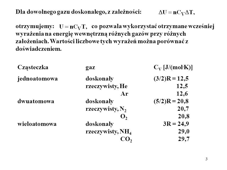 14 Z równania gazu doskonałego: i, dla przemiany adiabatycznej: Po podstawieniu: a także: