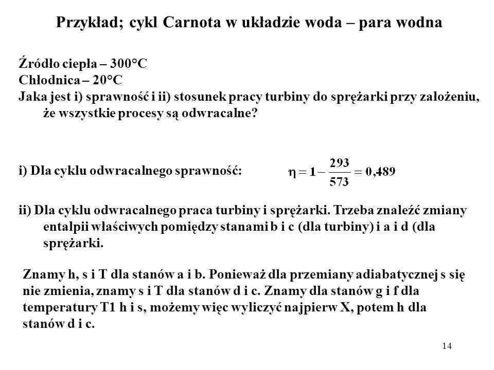 14 Przykład; cykl Carnota w układzie woda – para wodna Źródło ciepła – 300°C Chłodnica – 20°C Jaka jest i) sprawność i ii) stosunek pracy turbiny do s