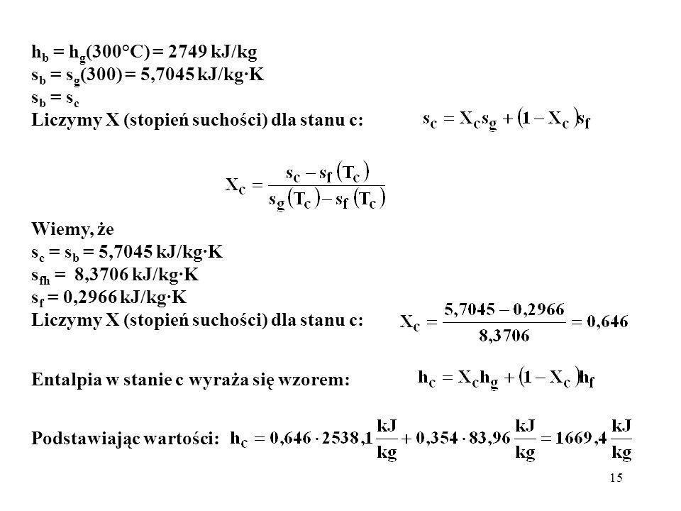 15 h b = h g (300°C) = 2749 kJ/kg s b = s g (300) = 5,7045 kJ/kg·K s b = s c Liczymy X (stopień suchości) dla stanu c: Wiemy, że s c = s b = 5,7045 kJ