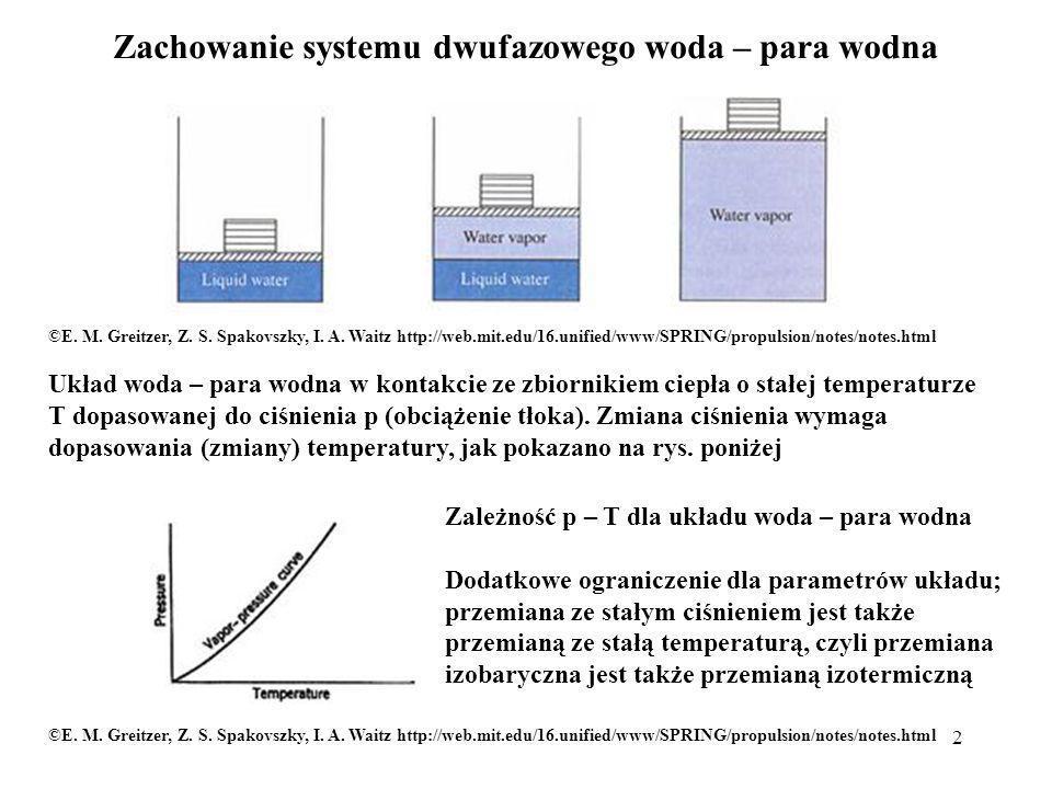 3 Diagram p – V dla układu woda – para wodna 0,1 MPa a 1 : woda chłodna 0,001 m 3, 273,15 K woda wrząca, para wilgotna, para nasycona sucha v 1 : woda wrząca 0,0010434 m 3, 372,78 K, para nasycona sucha v 1 : 1,946 m 3 1 MPa a 10 : woda chłodna, 273 K v 10 : woda wrząca 0,0011274 m 3, 453,03 K v 10 : para nasycona sucha 0,1943 m 3 gdyż: Dla rosnących ciśnień, objętość właściwa cieczy chłodnej prawie się nie zmienia, cieczy wrzącej powoli rośnie, pary nasyconej suchej zmierza do objętości właściwej dla cieczy wrzącej; punkt krytyczny p k = 22,115 MPa, T k = 647,27 K, v k = 3,147·10 -3 m 3 © Copyright by Wydawnictwa Szkolne i Pedagogiczne S.A., Warszawa 1987