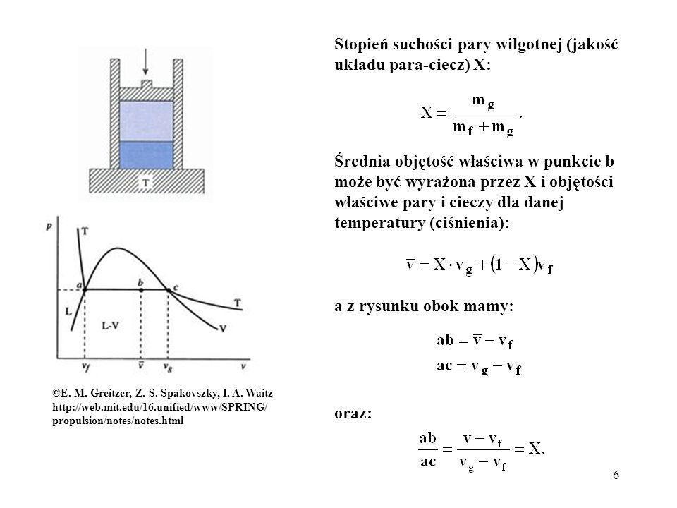 6 Stopień suchości pary wilgotnej (jakość układu para-ciecz) X: ©E. M. Greitzer, Z. S. Spakovszky, I. A. Waitz http://web.mit.edu/16.unified/www/SPRIN