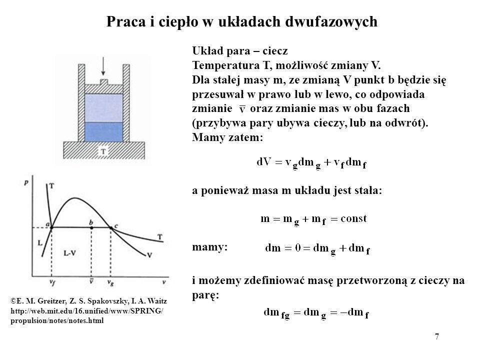 7 ©E. M. Greitzer, Z. S. Spakovszky, I. A. Waitz http://web.mit.edu/16.unified/www/SPRING/ propulsion/notes/notes.html Praca i ciepło w układach dwufa