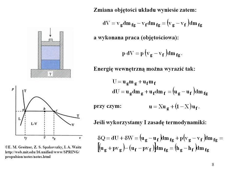 9 Dla skończonej masy m fg przetransferowanej z cieczy do gazu, otrzymamy: gdzie h fg to entalpia właściwa dla zmiany stanu skupienia (ciepło parowania).