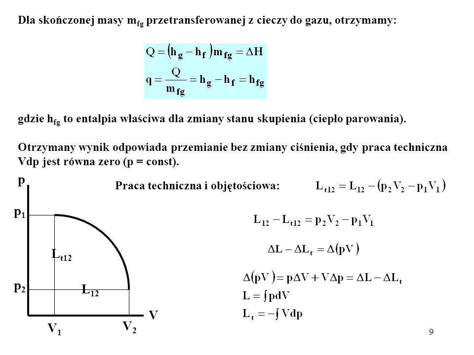 9 Dla skończonej masy m fg przetransferowanej z cieczy do gazu, otrzymamy: gdzie h fg to entalpia właściwa dla zmiany stanu skupienia (ciepło parowani