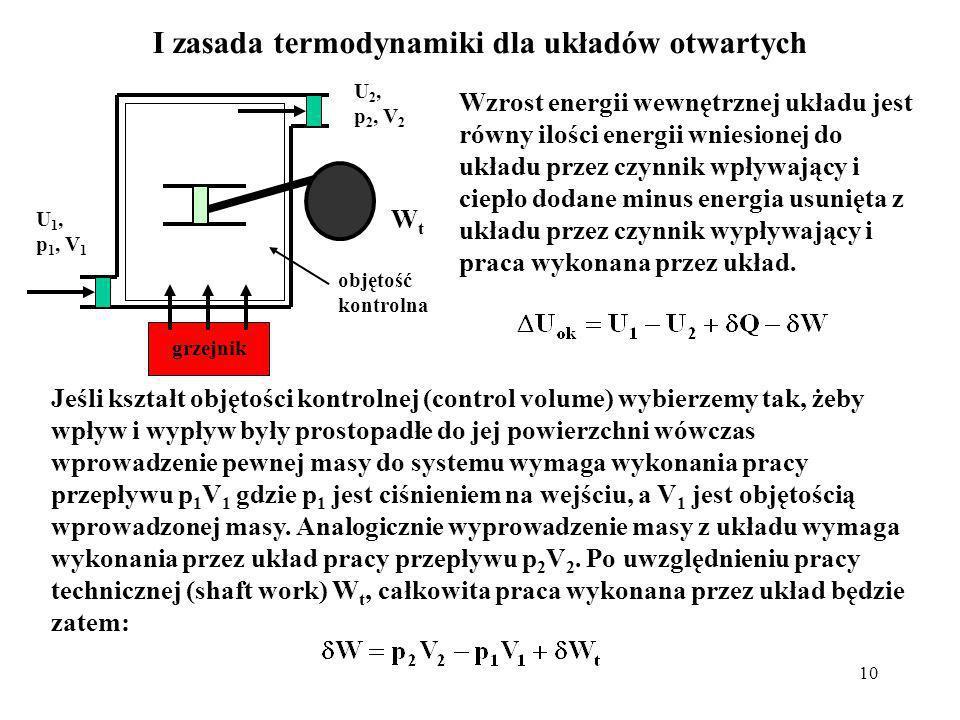 10 I zasada termodynamiki dla układów otwartych WtWt Wzrost energii wewnętrznej układu jest równy ilości energii wniesionej do układu przez czynnik wp