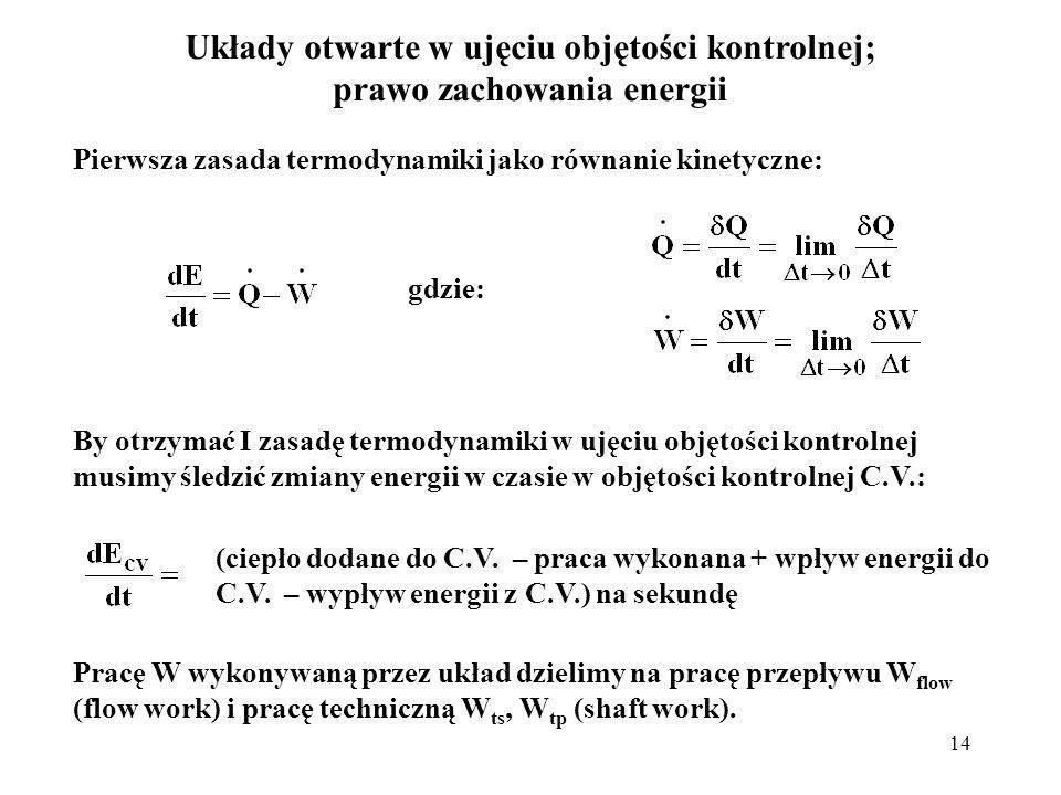 14 Układy otwarte w ujęciu objętości kontrolnej; prawo zachowania energii Pierwsza zasada termodynamiki jako równanie kinetyczne: gdzie: By otrzymać I