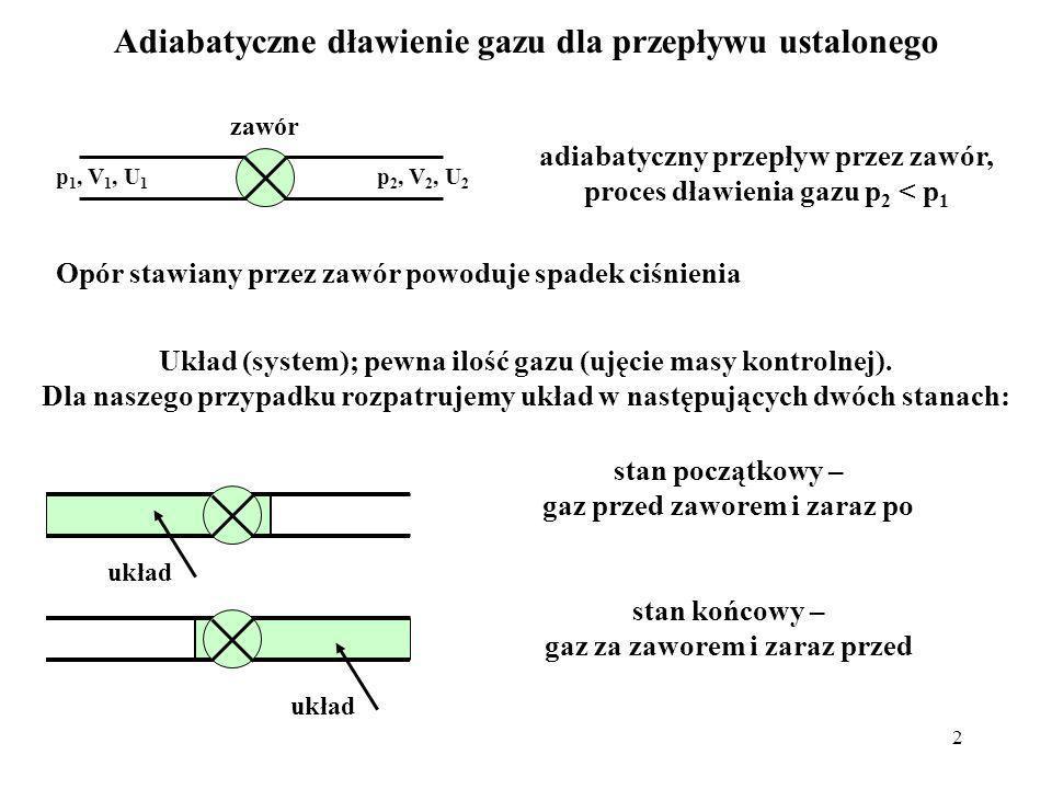 2 Adiabatyczne dławienie gazu dla przepływu ustalonego p 1, V 1, U 1 p 2, V 2, U 2 adiabatyczny przepływ przez zawór, proces dławienia gazu p 2 < p 1