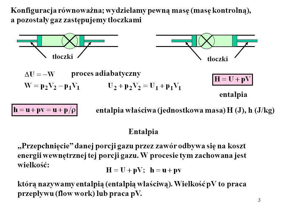 4 Wniosek W procesie adiabatycznego dławienia entalpia gazu przed i za zaworem dławiącym jest zachowana.