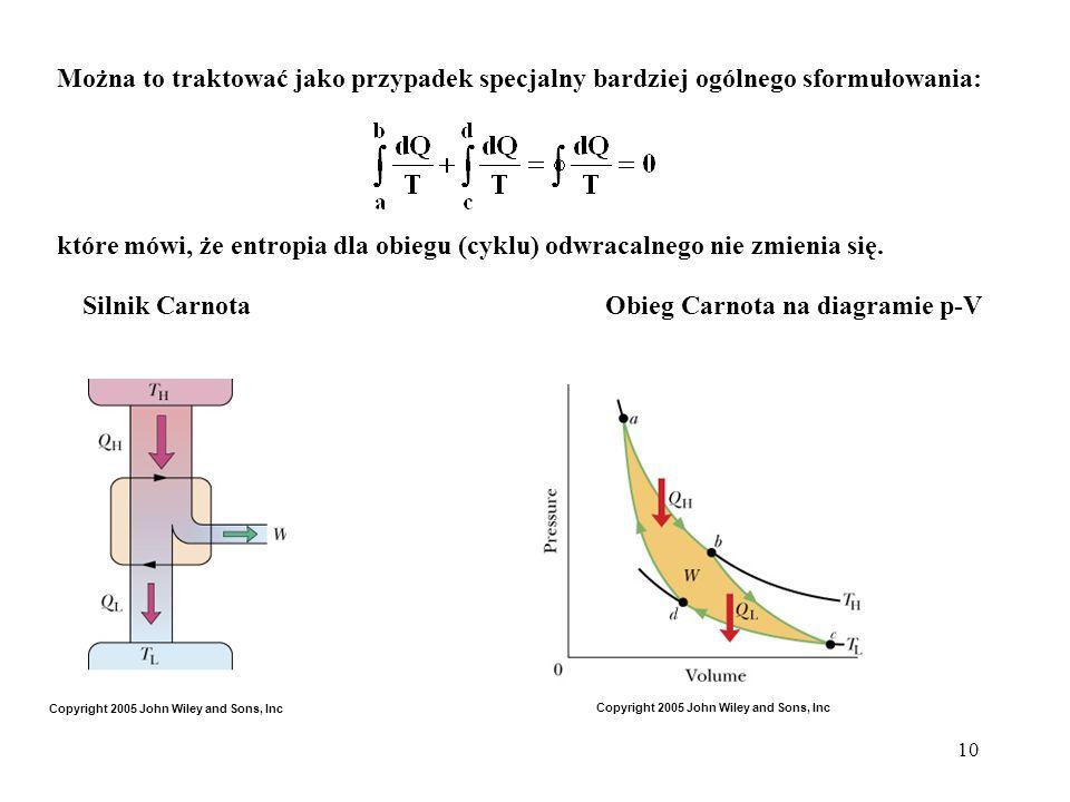 10 Można to traktować jako przypadek specjalny bardziej ogólnego sformułowania: które mówi, że entropia dla obiegu (cyklu) odwracalnego nie zmienia si