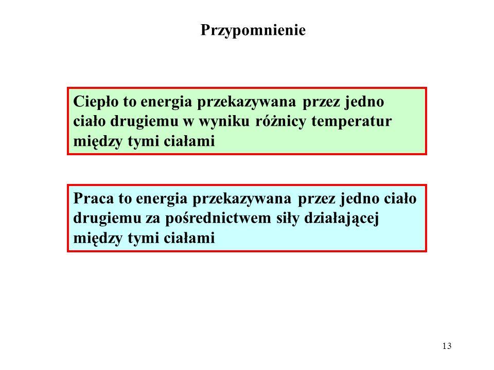 13 Ciepło to energia przekazywana przez jedno ciało drugiemu w wyniku różnicy temperatur między tymi ciałami Praca to energia przekazywana przez jedno