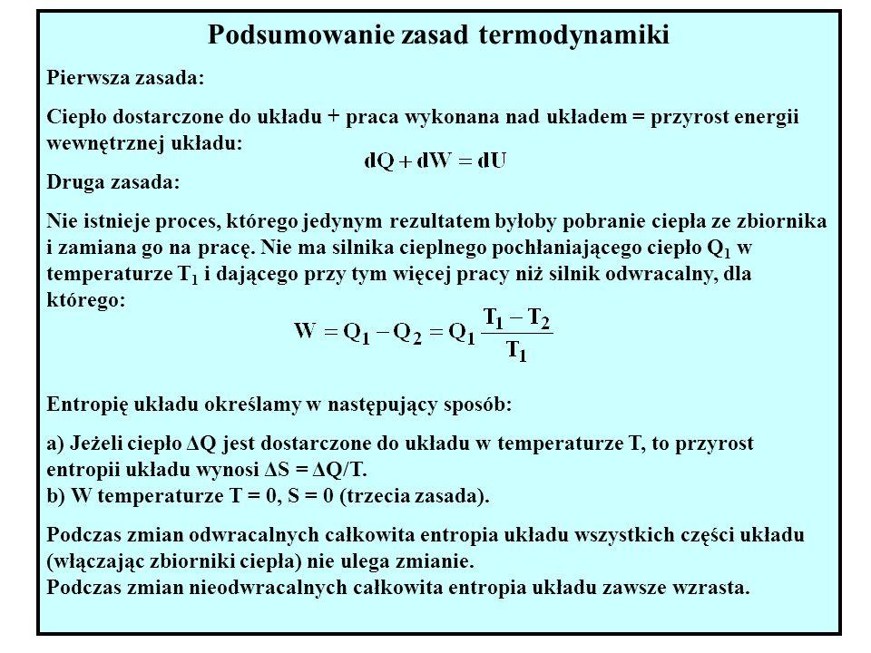 19 Podsumowanie zasad termodynamiki Pierwsza zasada: Ciepło dostarczone do układu + praca wykonana nad układem = przyrost energii wewnętrznej układu: