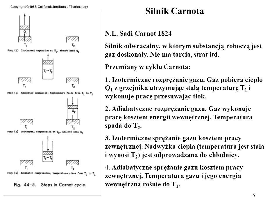 5 Silnik Carnota N.L. Sadi Carnot 1824 Silnik odwracalny, w którym substancją roboczą jest gaz doskonały. Nie ma tarcia, strat itd. Przemiany w cyklu