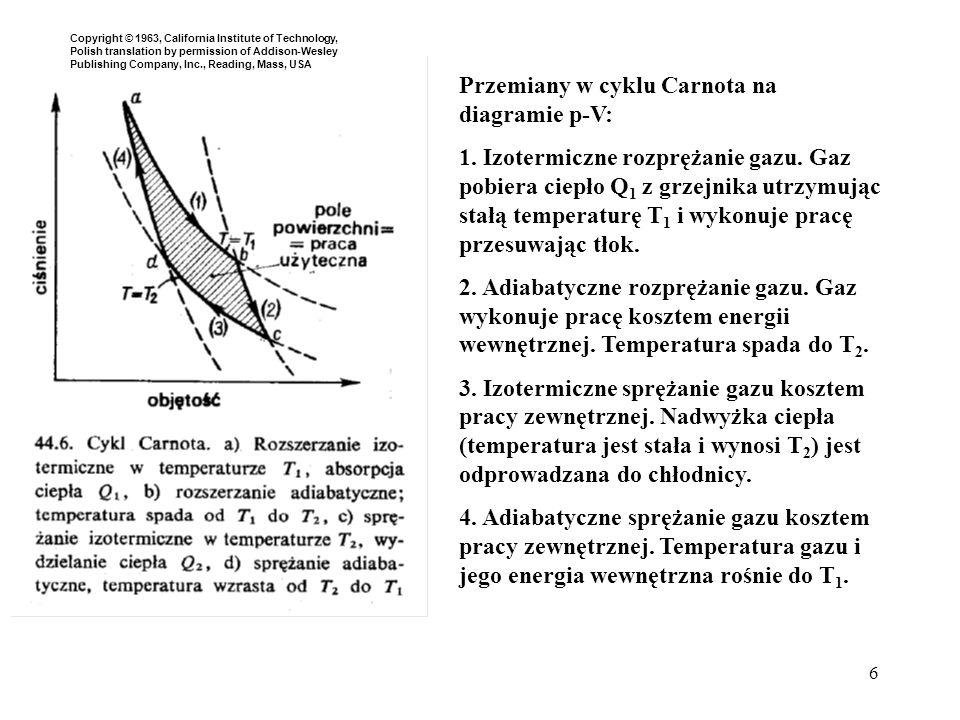 6 Przemiany w cyklu Carnota na diagramie p-V: 1. Izotermiczne rozprężanie gazu. Gaz pobiera ciepło Q 1 z grzejnika utrzymując stałą temperaturę T 1 i