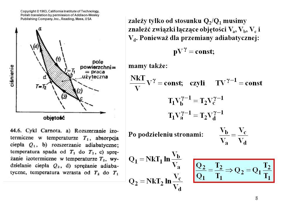 8 Po podzieleniu stronami: zależy tylko od stosunku Q 2 /Q 1 musimy znaleźć związki łączące objętości V a, V b, V c i V d. Ponieważ dla przemiany adia