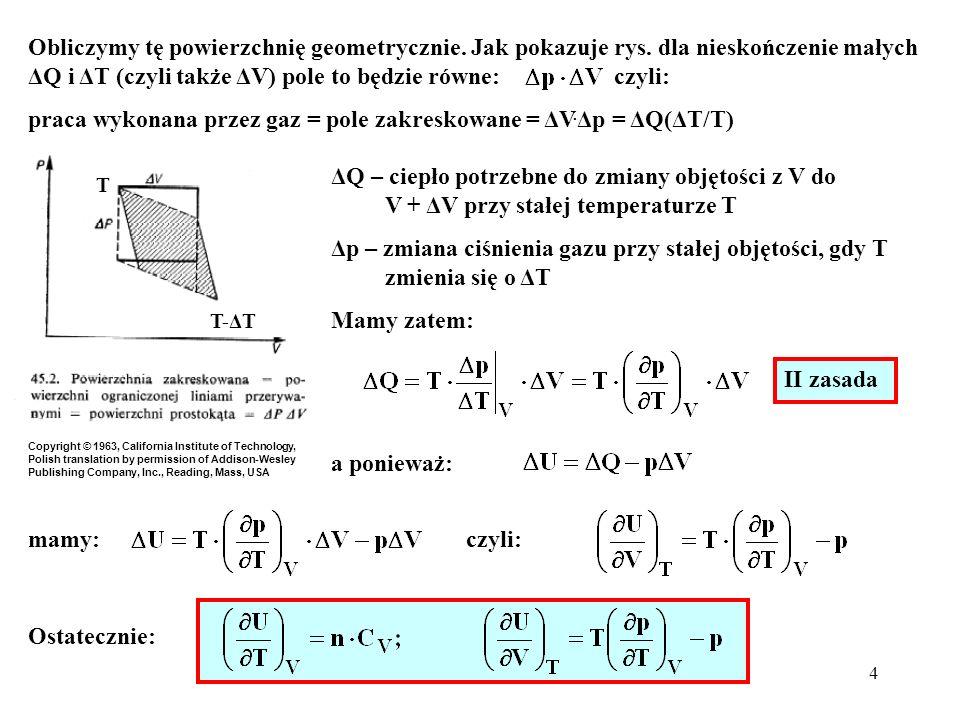 4 Obliczymy tę powierzchnię geometrycznie. Jak pokazuje rys. dla nieskończenie małych ΔQ i ΔT (czyli także ΔV) pole to będzie równe: czyli: praca wyko