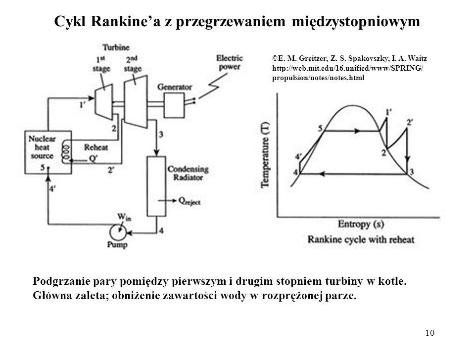 10 Cykl Rankinea z przegrzewaniem międzystopniowym Podgrzanie pary pomiędzy pierwszym i drugim stopniem turbiny w kotle. Główna zaleta; obniżenie zawa