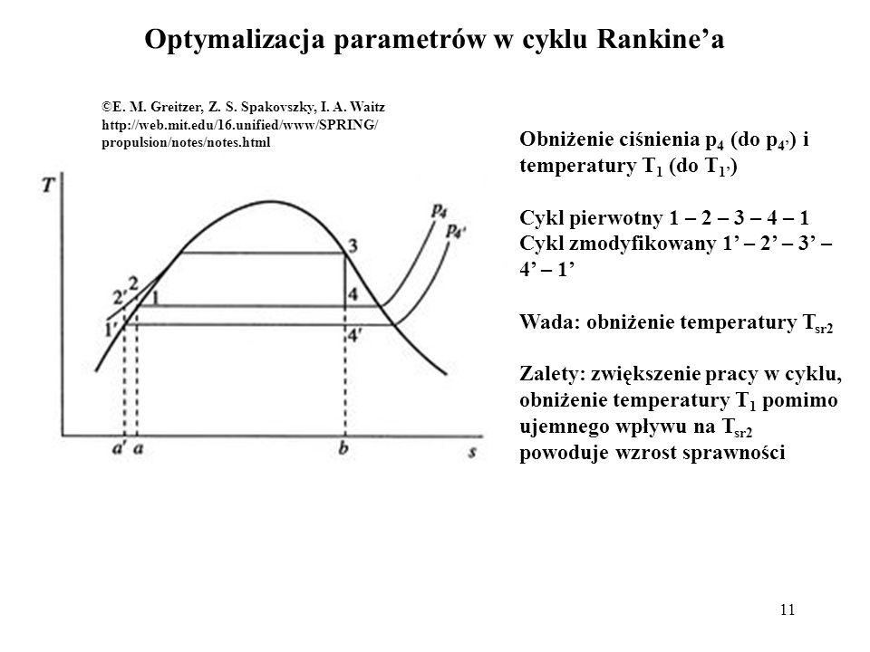 11 Optymalizacja parametrów w cyklu Rankinea ©E. M. Greitzer, Z. S. Spakovszky, I. A. Waitz http://web.mit.edu/16.unified/www/SPRING/ propulsion/notes