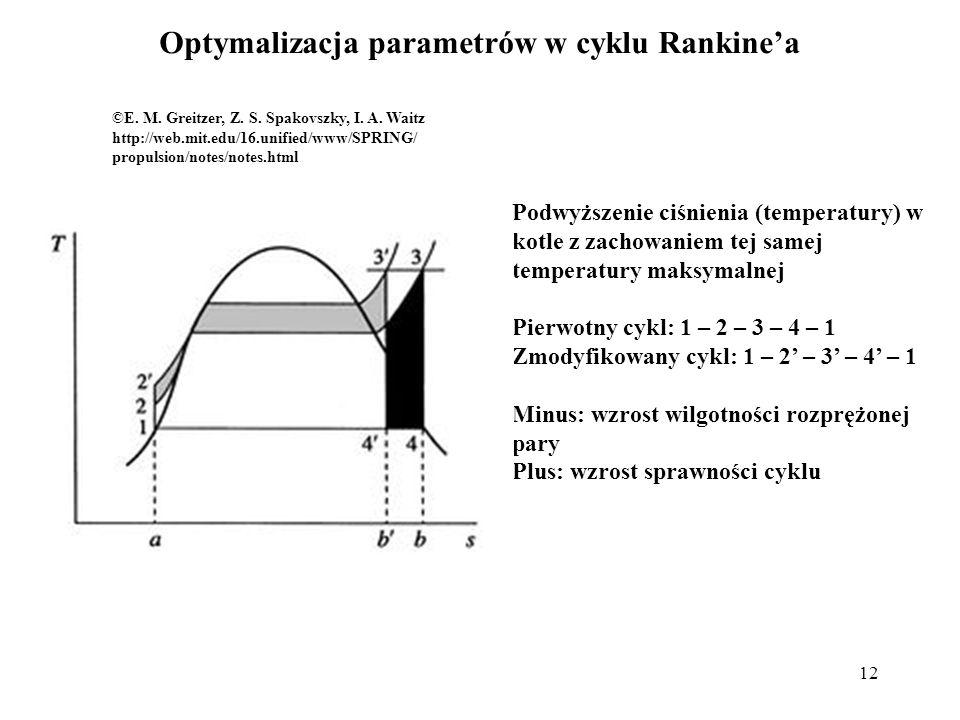 12 Optymalizacja parametrów w cyklu Rankinea ©E. M. Greitzer, Z. S. Spakovszky, I. A. Waitz http://web.mit.edu/16.unified/www/SPRING/ propulsion/notes