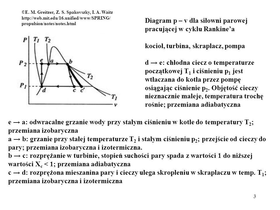 4 Diagram T – s dla siłowni parowej pracującej w cyklu Rankinea d e: adiabatyczne sprężanie wody e a: izobaryczne grzanie wody do T 2 a b: wytwarzanie pary (T 2 i p 2 ) b c: adiabatyczne rozprężanie pary c d: skroplenie pary w temperaturze T 1 Wprowadzamy temperatury średnie: ©E.