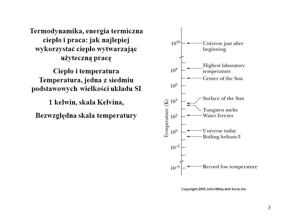 3 Termodynamika, energia termiczna ciepło i praca: jak najlepiej wykorzystać ciepło wytwarzając użyteczną pracę Ciepło i temperatura Temperatura, jedn