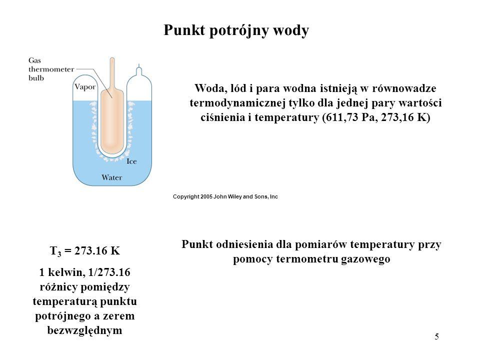 5 Punkt potrójny wody T 3 = 273.16 K 1 kelwin, 1/273.16 różnicy pomiędzy temperaturą punktu potrójnego a zerem bezwzględnym Woda, lód i para wodna ist