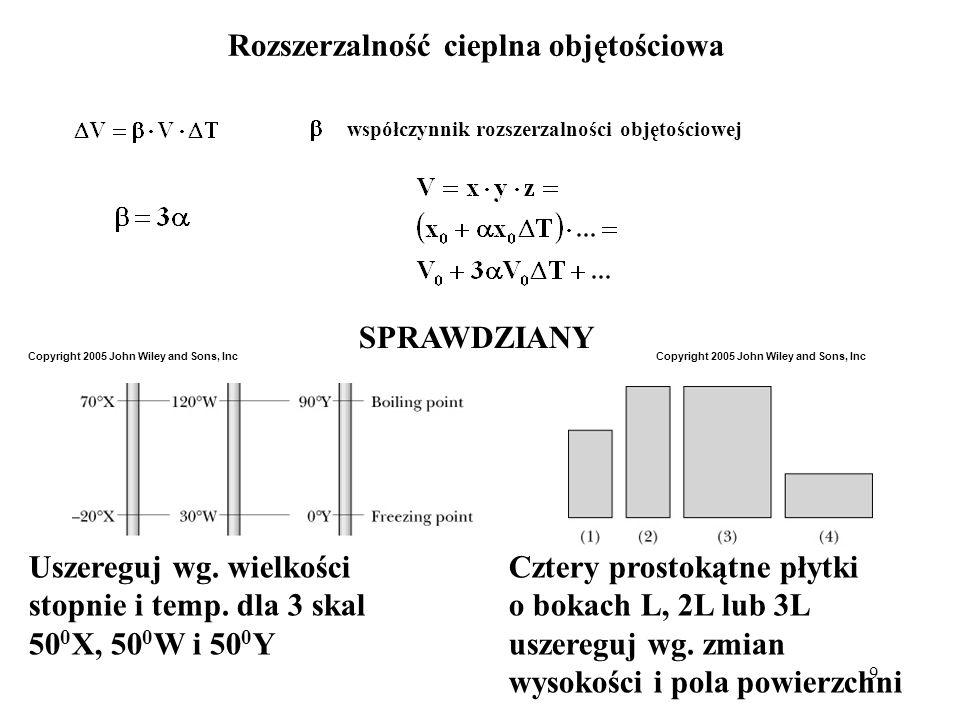 9 Rozszerzalność cieplna objętościowa współczynnik rozszerzalności objętościowej SPRAWDZIANY Uszereguj wg. wielkościCztery prostokątne płytki stopnie
