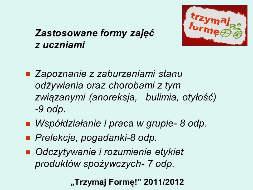 Trzymaj Formę! 2011/2012 Zastosowane formy zajęć z uczniami Zapoznanie z zaburzeniami stanu odżywiania oraz chorobami z tym związanymi (anoreksja, bul