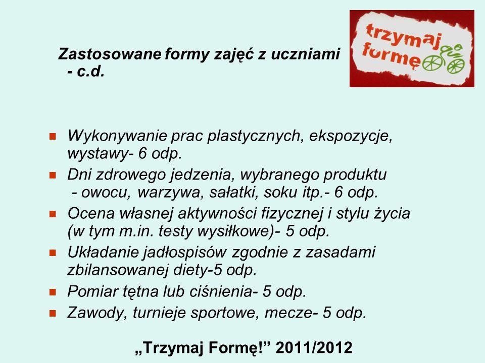 Trzymaj Formę! 2011/2012 Zastosowane formy zajęć z uczniami - c.d. Wykonywanie prac plastycznych, ekspozycje, wystawy- 6 odp. Dni zdrowego jedzenia, w