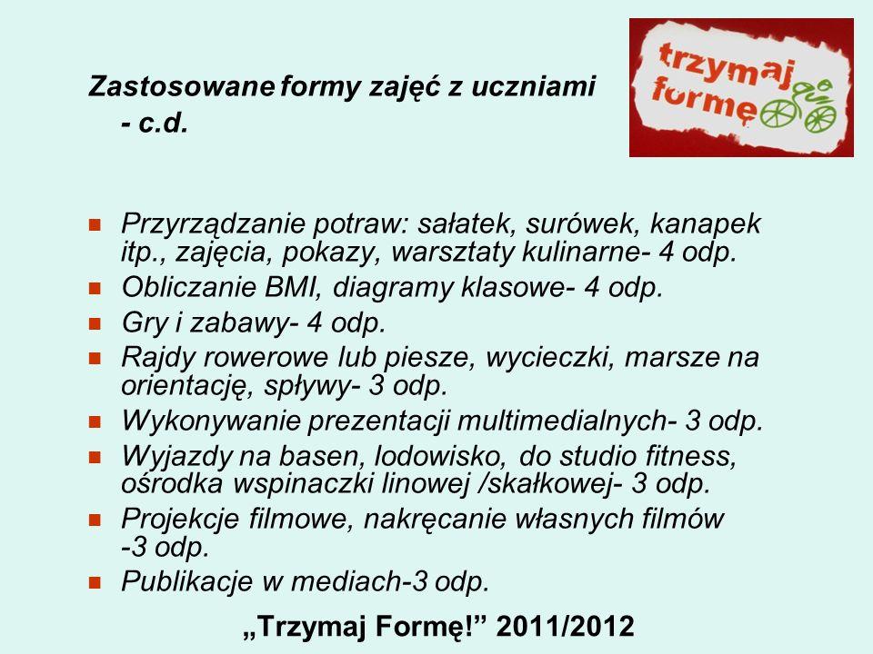 Trzymaj Formę! 2011/2012 Zastosowane formy zajęć z uczniami - c.d. Przyrządzanie potraw: sałatek, surówek, kanapek itp., zajęcia, pokazy, warsztaty ku