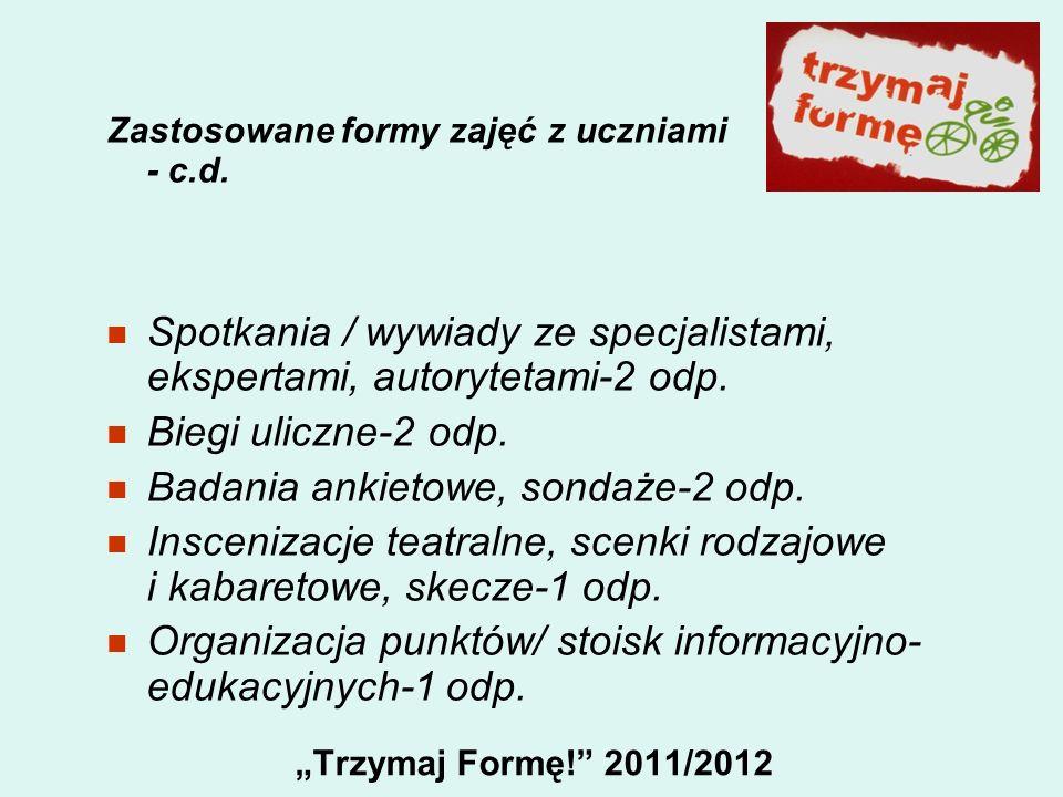 Trzymaj Formę! 2011/2012 Zastosowane formy zajęć z uczniami - c.d. Spotkania / wywiady ze specjalistami, ekspertami, autorytetami-2 odp. Biegi uliczne
