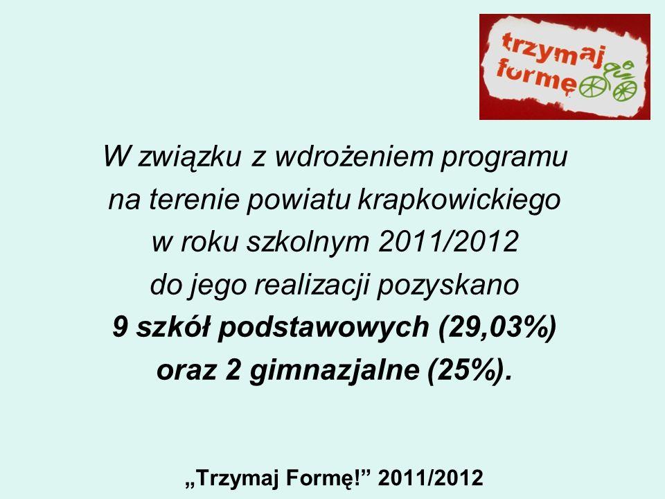 Trzymaj Formę! 2011/2012 W związku z wdrożeniem programu na terenie powiatu krapkowickiego w roku szkolnym 2011/2012 do jego realizacji pozyskano 9 sz